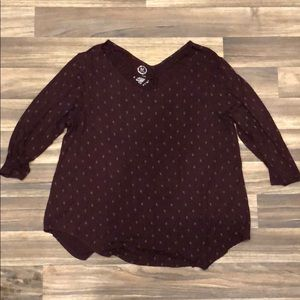 Maurice's 2X Maroon Top with Cage neckline